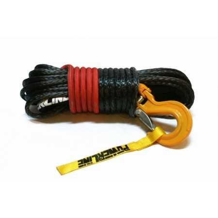 Lina syntetyczna 12 mm x 28 m, Black z kauszą rurkową i hakiem C-LINK, MBL 13.5T, osłona termiczna Technora RED