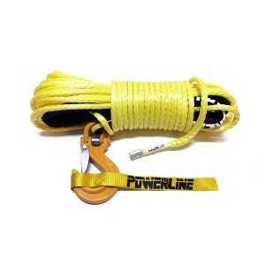Lina syntetyczna 10 mm x 28 m, Yellow z kauszą rurkową i hakiem C-LINK, MBL 10.5T