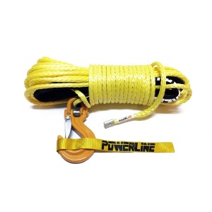 Synthetic rope 10 mm x 28 m, Yellow with tube thimble and hook C-LINK, MLB 10.5T