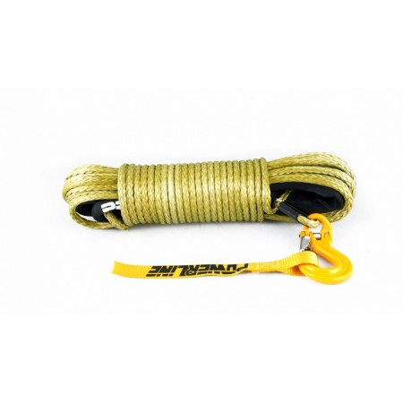 Yellow rope 9 mm x 28 m. with tube thimble and hook C-LINK 8.5T
