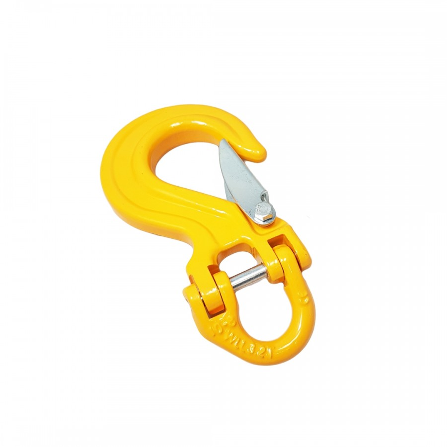 Hak oczkowy płaski z zabezpieczeniem oraz złączką C-CONNECT WLL3.2T MBL 12.8T żółty
