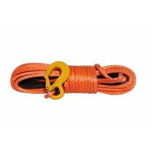 Lina syntetyczna 10 mm x 28 m, orange red z kauszą rurkową i hakiem, MBL 10.5T