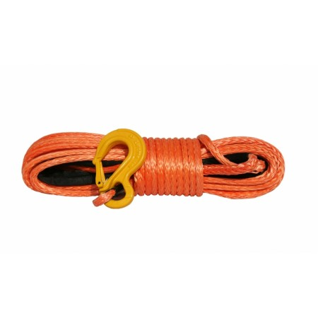 Orange rope 10 mm x 28 m. with tube thimble and hook, MBL 10.5T