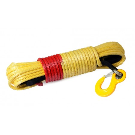 Yellow synthetic rope 12 mm x 28 m. with tube thimble and hook 13.5T Safety Red