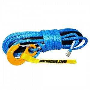 Lina syntetyczna 12 mm x 28 m, Blue z kauszą rurkową i hakiem, MBL 10,8T