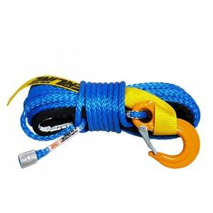 Blue synthetic rope 6 mm x 15 m. with thimble and hook, 3T