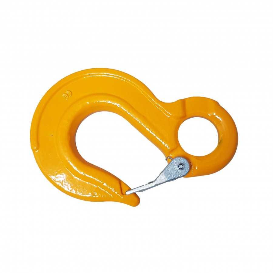 Hak oczkowy płaski z zabezpieczeniem WLL5.4T MBL 21.6T żółty