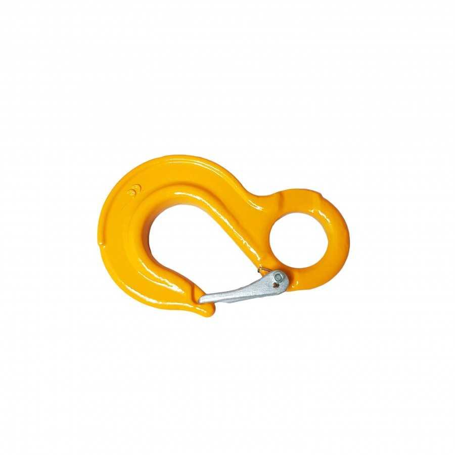 Hak oczkowy płaski z zabezpieczeniem WLL3.2T MBL 12.8T żółty