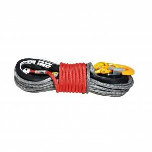 Lina syntetyczna 10 mm x 28 m, Grey z kauszą rurkową i hakiem, MBL 10.5T, osłona termiczna Technora RED