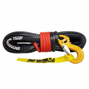 Black synthetic rope10 mm x 28 m with tube thimble, C-LINK hook and Technora cover 10.5T
