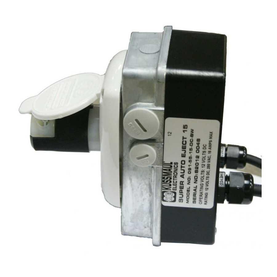 Szybki Wyjazd KUSSMAUL Super Auto Eject - wtyczka i gniazdo automatyczne 230V AC, 15A, 12 VDC , biała klapka