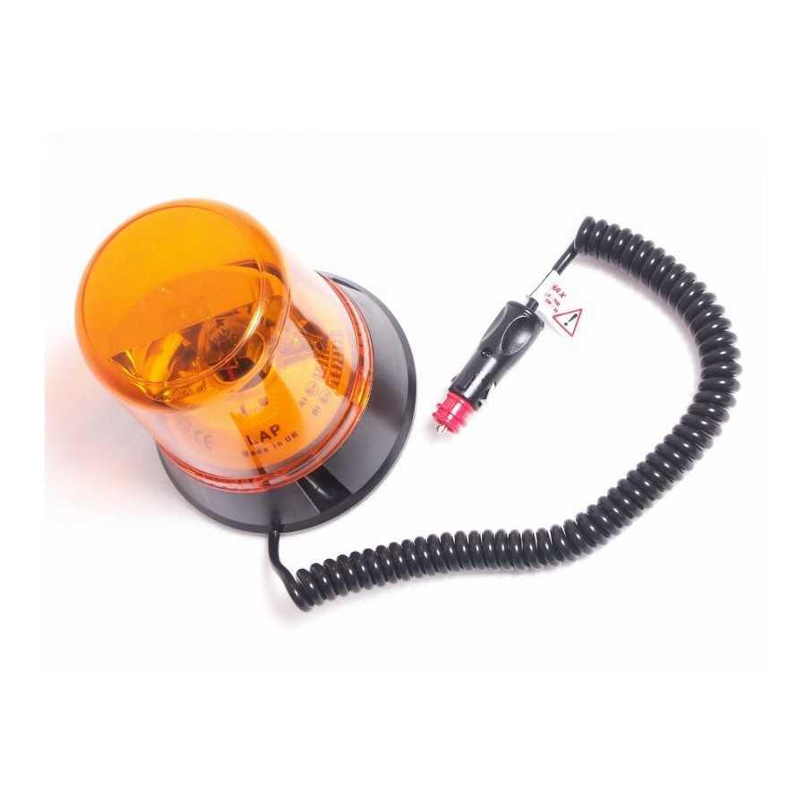 Pojedyncza lampa rotatorowa, LAP 259, 12V, mocowanie magnetyczne, pomarańczowa, przewód 2,10m