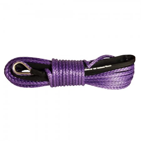 Purple synthetic rope 8 mm x 25 m. with thimble and loop, 6.8T