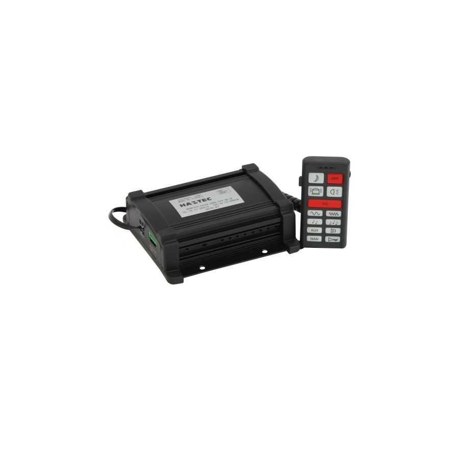 Syrena Euromax, montaż pod siedzeniem, 4 modulacje + airhorn, mikrofon do podawania komunikatów, 2 x wyjście sterowania światłam