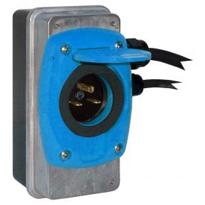 Szybki Wyjazd KUSSMAUL Super Auto Eject - wtyczka i gniazdo automatyczne 230V AC, 15A, 24 VDC , niebieska klapka