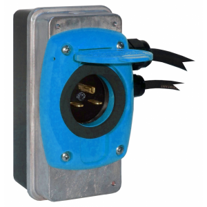 Szybki Wyjazd KUSSMAUL Super Auto Eject - wtyczka i gniazdo automatyczne 230V AC, 15A, 12V DC, niebieska klapka